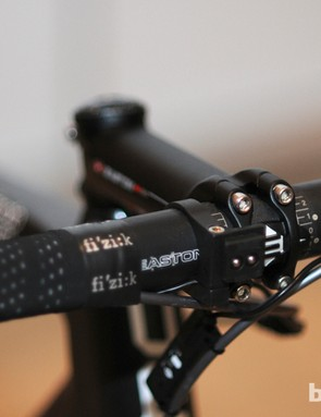 Ancillary bits on complete GranFondo GF01 bikes include Easton cockpits with compact-bend bars
