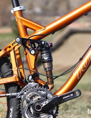 Our test bike had an upgraded Fox RP23 Adaptive Logic shock