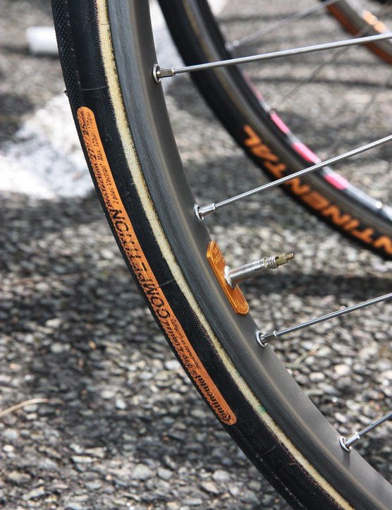 25mm-wide Continental Competition Pro Limited ProTection tubulars mounted on Ambrosio Nemesis alloy rims for GreenEdge rider Svein Tuft