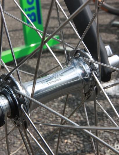 GreenEDGE team mechanics built traditional alloy box-section wheels around Shimano Dura-Ace hubs for Paris-Roubaix