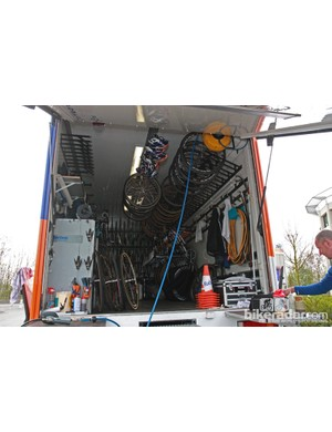 The inside of the Rabobank team truck