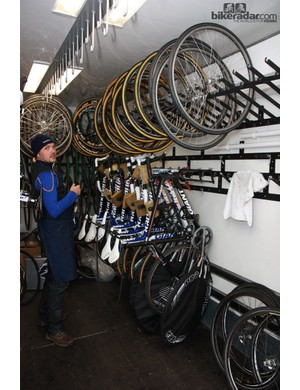 There's room for lots of bikes and wheels inside the Rabobank team truck
