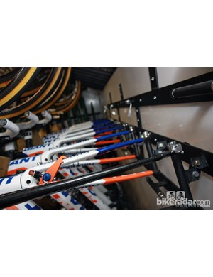 Rabobank store their team bikes inside the truck with the forks turned at an angle