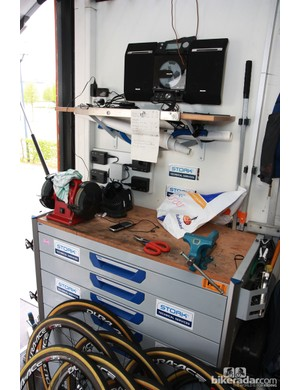 The workbench inside the Rabobank team truck was crowded with wheels the day before Paris-Roubaix