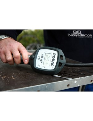 Rabobank's air compressor was connected to this handy inflator for accurate pressure readings. It doesn't shut off automatically like the handheld Craftsman compressors often used in 'cross circles but the digital readout provides finer resolution than typical analog dials