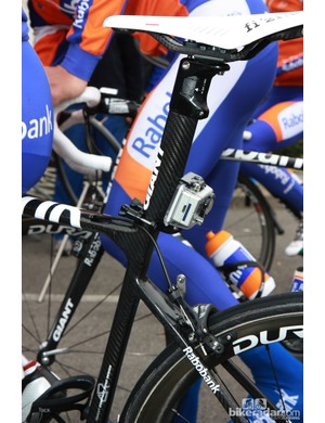 This Rabobank rider's bike was fitted with a GoPro camera to collect footage for the team website