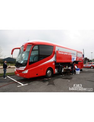 Katusha mechanics don't use a truck. Instead, they use a converted touring bus as there are fewer restrictions on European roads