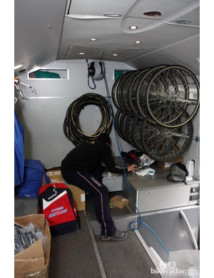 More wheels are stored in the forward end of the Katusha team mechanics' bus