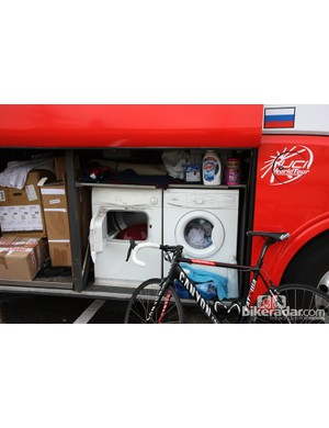 This washer and dryer on the Katusha team bus both see heavy use during the season