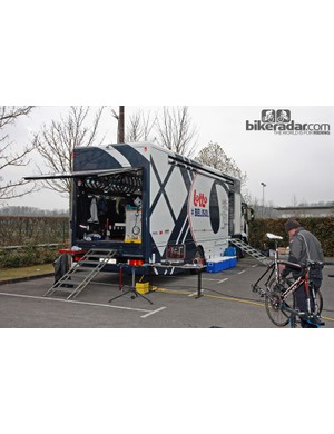 Lotto-Belisol's team truck is a fully capable mobile workshop for the team