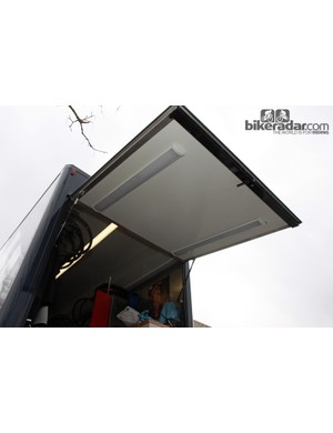 Lights mounted underneath the rear door allow Lotto-Belisol trucks to continue working after dark