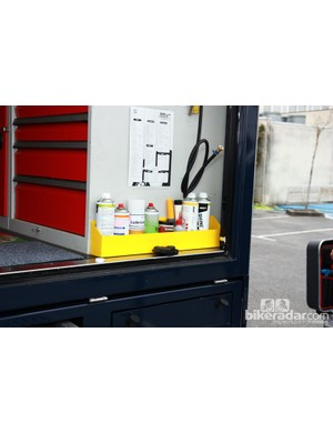 Lotto-Belisol team mechanics keep often-used fluids conveniently located at the edge of the truck