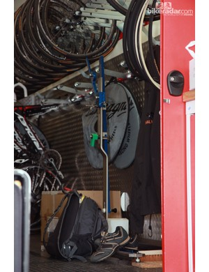 Lotto-Belisol's sizing jig is tucked away back inside the truck after all the bikes have been set up