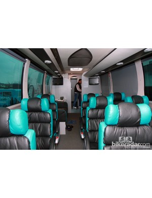Big, puffy seats for the Astana riders provide a cozy place on the bus as they travel to and from races