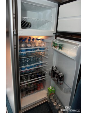 Lots of drinks are kept cold in the Astana team bus refrigerator. There's a bottle of champagne in the freezer, too – just in case
