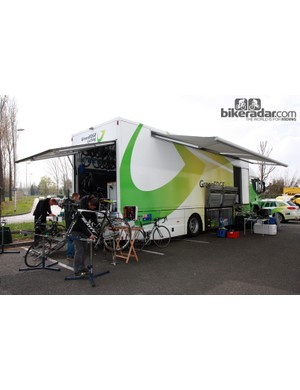 GreenEDGE's awning is a critical piece of equipment when mechanics have to work outside in the rain
