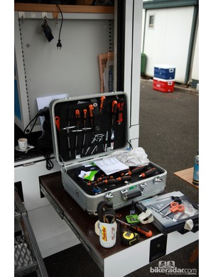 The back of the GreenEDGE team truck has pull-out tables for the mechanics