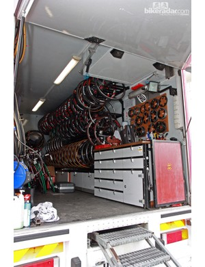The inside of the Cofidis truck is stocked with wheels on one side and bikes on the other