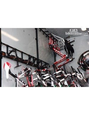 Bikes are stored in the Cofidis truck with the wheels removed
