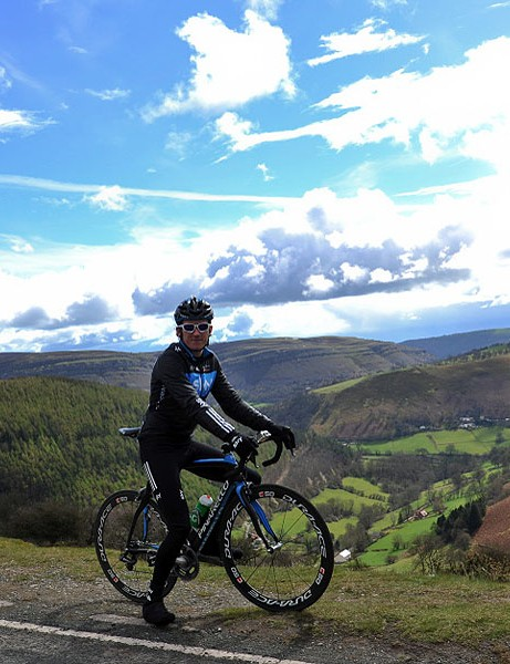 Geraint Thomas at the summit of the Horseshoe Pass, Llangollen