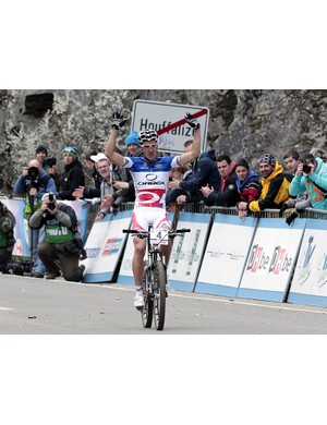 Julien Absalon (Orbea) triumphs in the second round of the cross country World Cup in Houffalize, Belgium
