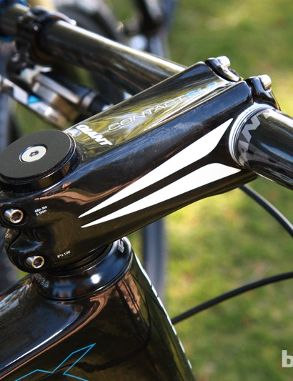 Giant's own massive Contact SLR carbon fiber stem likely contributes to the bike's front end stiffness
