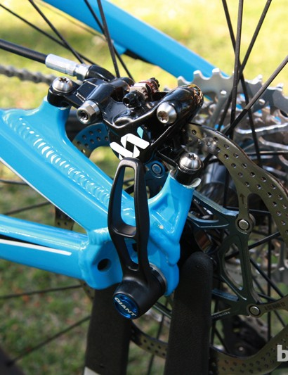Rear brake calipers bolt to post mount tabs. According to Giant's Kevin Dana, the company looked into incorporating a rear through-axle but there wasn't enough of a stiffness gain to justify the additional weight