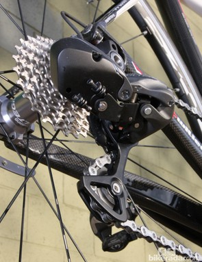 Conventional adjustment screws are located on the underside of the rear derailleur