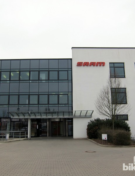 The signage on SRAM's facility in Schweinfurt, Germany is modest considering what goes on inside