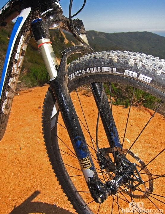 The RockShox SID 29 RCT3 fork is a good match for the rear end with a well controlled feel and similarly progressive spring rate