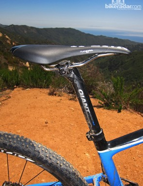 A Fizik Tundra saddle and Giant's own Contact SLR carbon fiber seatpost top off the new Anthem X Advanced 29er 0