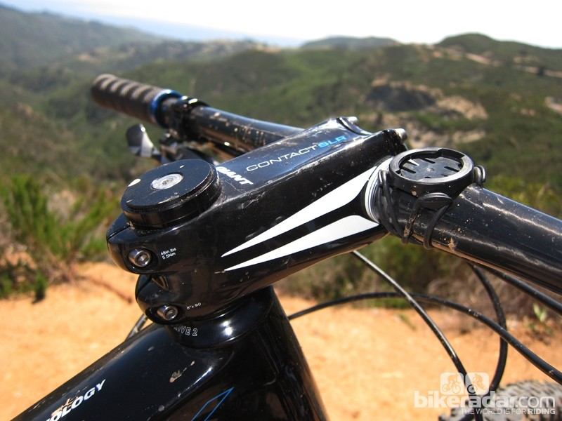 The Giant Contact SLR carbon fiber stem uses an enormous cross-section for stiffness