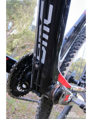 The bottom bracket assembly is tall, wide and offers a seemingly efficient pedaling platform