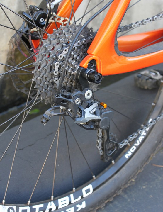 Shimano's XTR Shadow Plus rear derailleur and a 10mm through-bolt quick-release for the rear wheel
