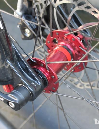 The Velvet's 15mm through-axle dropout and 15mm compatible NovaTec Diablo hub