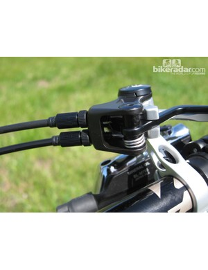 Dual barrel adjusters allow for easy fine-tuning of cable tension on FOX's new dual CTD remote lever