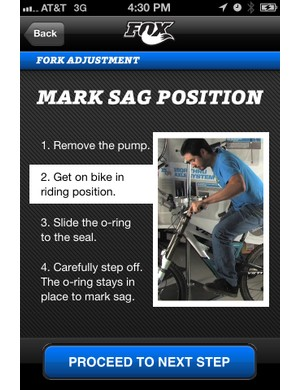 Step-by-step prompts will make it easier for riders to properly set their suspension using FOX's new setup app