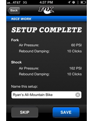 Once the setup process is completed, the app will store the settings for future reference