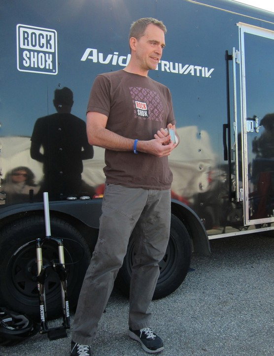 RockShox's Jed Douglas introducing the new Solo Air spring and Push-Loc remote