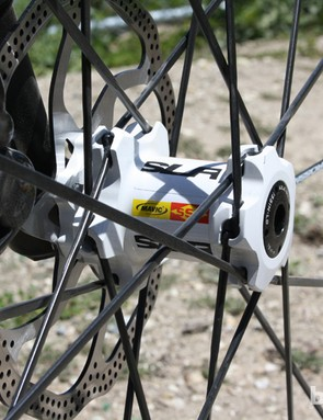 The flanges and spoke seats can be clearly seen on this Lefty-compatible Crossmax SLR hub