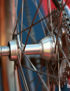 Specialized's own skewer clamps a Hugi rear hub – a precursor to the current DT Swiss design with the same star ratchet driver