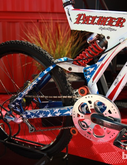 Downhill racing has certainly changed since Shaun Palmer raced this bike in 1996. Check out the huge gearing