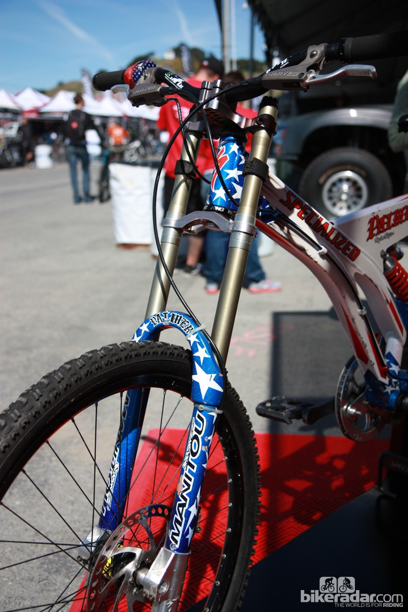 Shaun Palmer's 1996 Manitou fork may have dual crowns but the stanchions are still tiny as compared to modern options