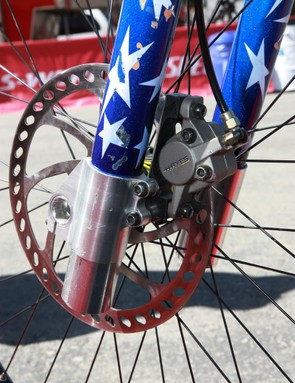 Check out the sketchy front brake mount on Shaun Palmer's 1996 Specialized FSR