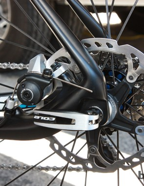 The rear disc brake caliper is neatly tucked away inside the rear triangle. The Shimano disc caliper pictured here is just a placeholder – the production bike will come with a nicer unit