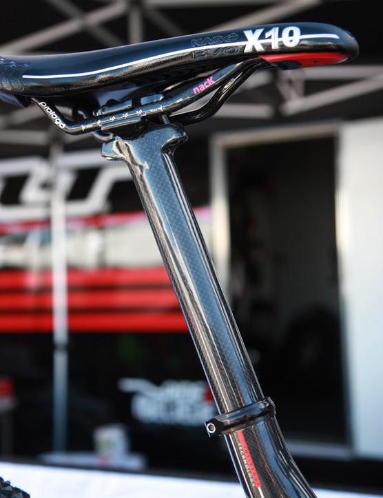 A carbon fiber seatpost and carbon railed saddle for the Felt Edict Nine LTD