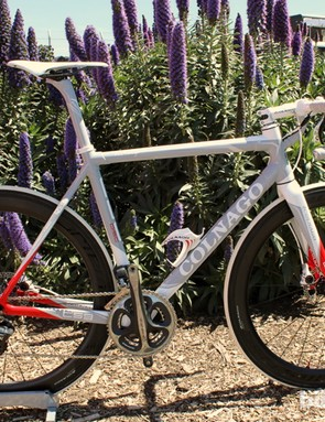 Colnago's C59 Disc uses a Shimano Dura-Ace Di2 electronic drivetrain paired with new Formula levers and C59-branded Formula calipers