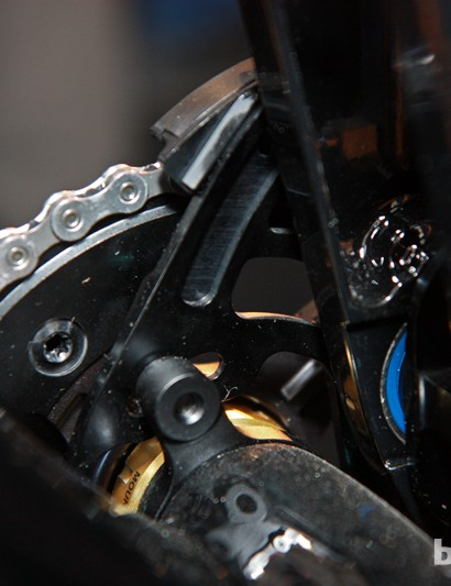 The boomerang on Shimano's new chain guide mounts to conventional ISCG tabs. The plate is aggressively cut away to help prevent mud build-up