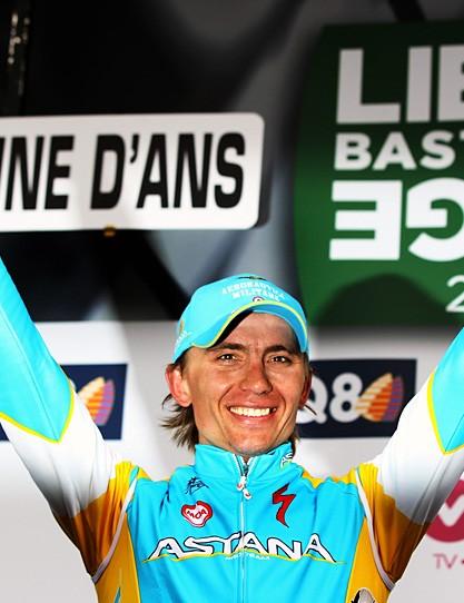 Maxim Iglinskiy (Astana) celebrates on the podium