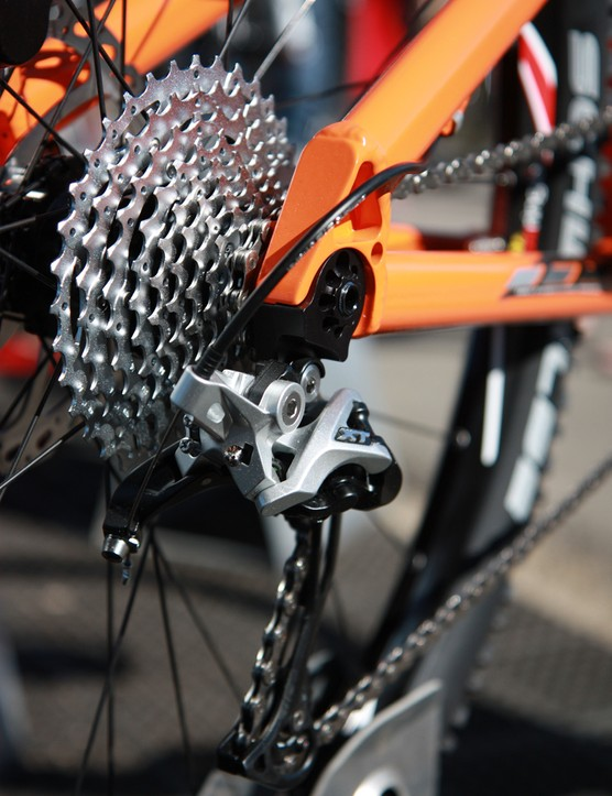 The rear derailleur is attached to an especially stout hanger on Foes' new Shaver 29